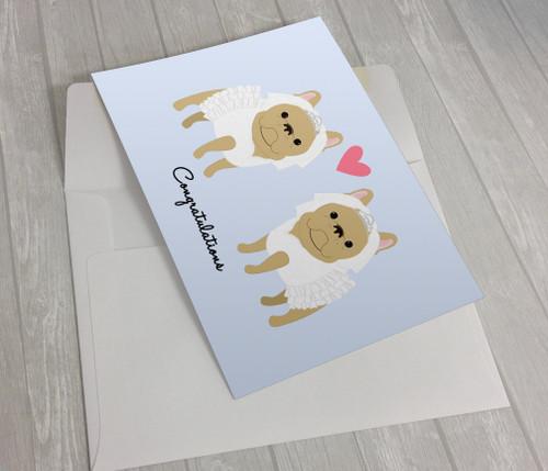 Wedding French Bulldogs 2 Brides Greeting Card
