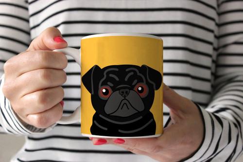 Black Pug on Yellow Ceramic Mug