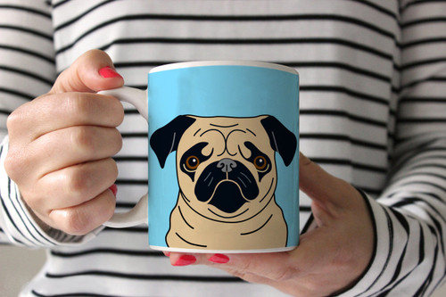 Fawn Pug on Blue Ceramic Mug