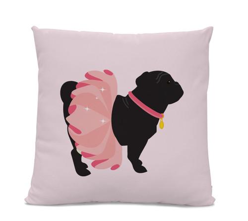 Black Pug in Pink Tutu Pillow