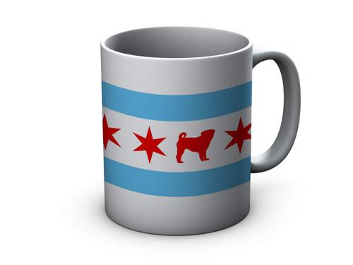 Chicago Flag Pug Ceramic Mug