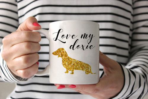 Love My Doxie Gold Glitter Coffee Mug