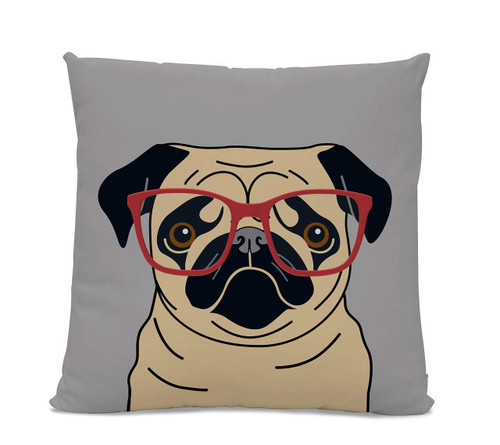 Fawn Pug with Glasses Pillow