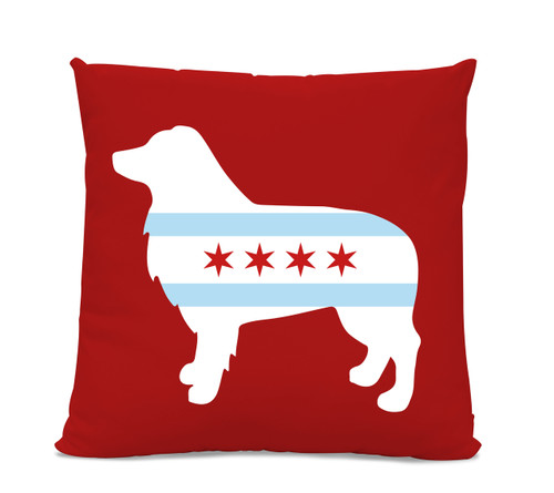 Chicago Flag Australian Shepherd Red Pillow