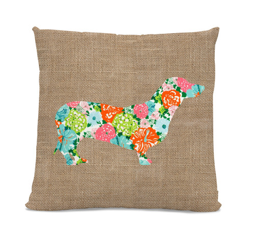 Floral Dachshund Pillow