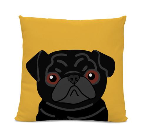 Black Pug on Yellow Pillow