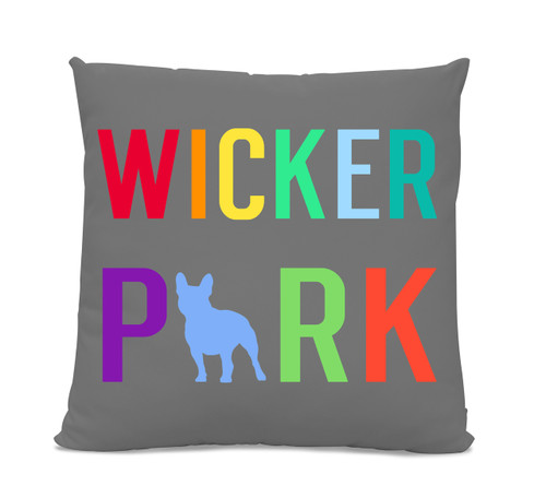 Wicker Park French Bulldog Gray Pillow
