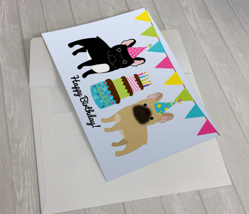 Black and Fawn French Bulldog Birthday Card