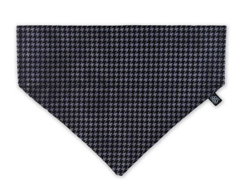 Black and Grey Houndstooth Slip-On Dog Bandana