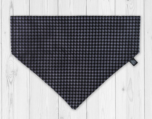 Black and Grey Houndstooth Slip-On Dog Bandana