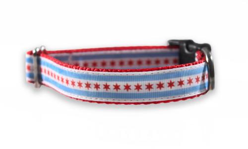 Chicago Flag Red Dog Collar