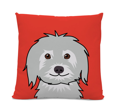 Shaggy Dog on Red Pillow