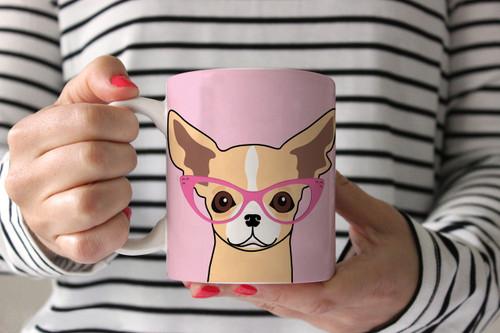 Chihuahua with Glasses Ceramic Mug