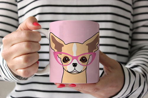 Chihuahua with Glasses Ceramic Mug