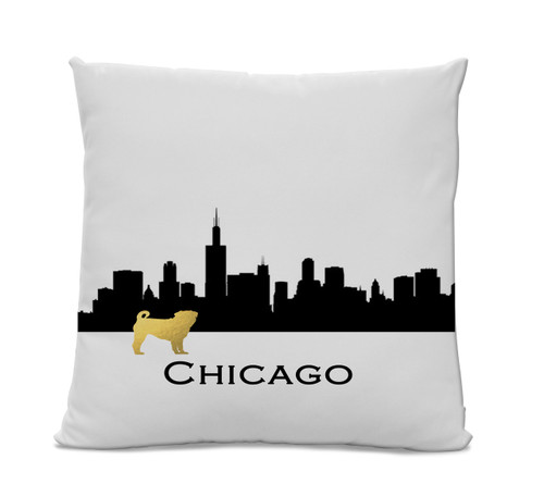 Chicago Skyline Gold Pug Pillow