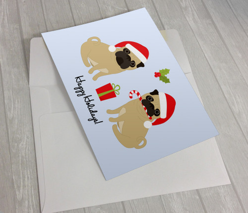 Happy Holidays Pug Greeting Card
