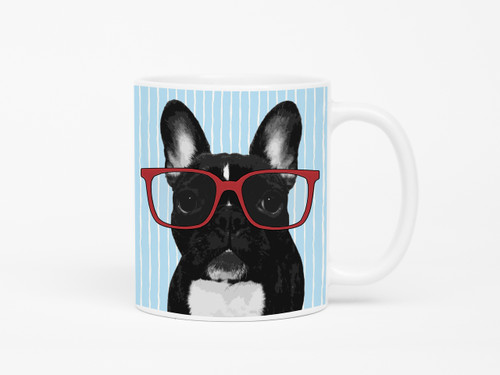 French Bulldog in Glasses Coffee Mug