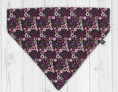Purple Posy Slip-On Dog Bandana