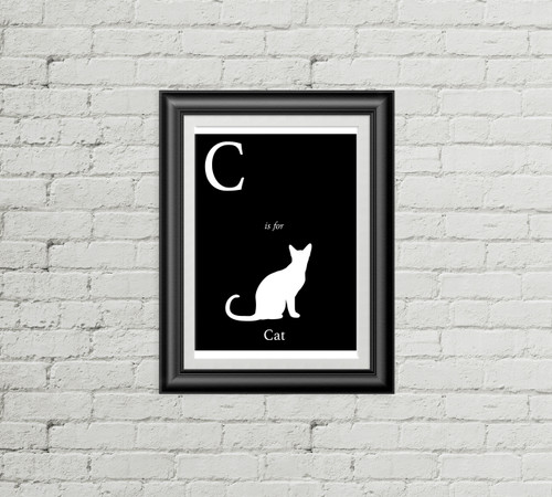 C is for Cat Alphabet Art Print