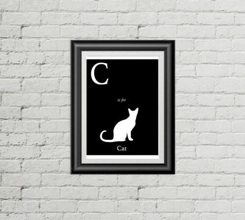 C is for Cat Alphabet Art Print