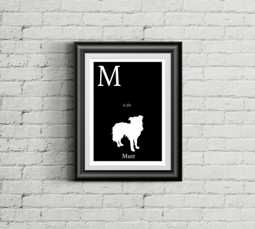 M is for Mutt Alphabet Art Print