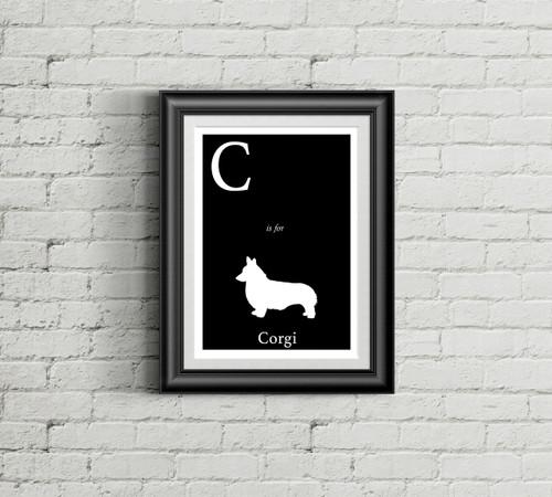 C is for Corgi Alphabet Art Print