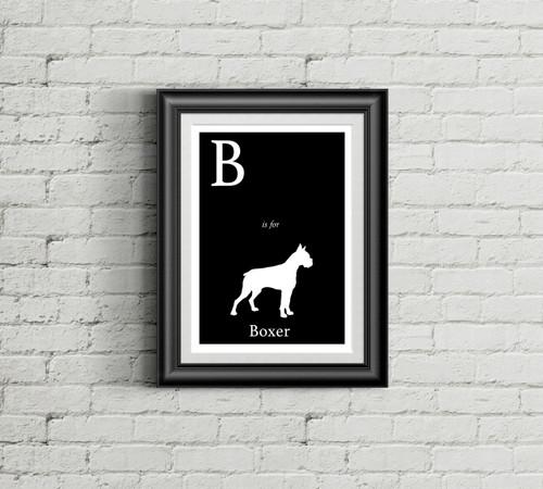 B is for Boxer Alphabet Art Print