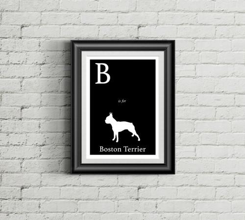 B is for Boston Terrier Alphabet Art Print