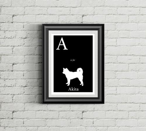 A is for Akita Alphabet Art Print