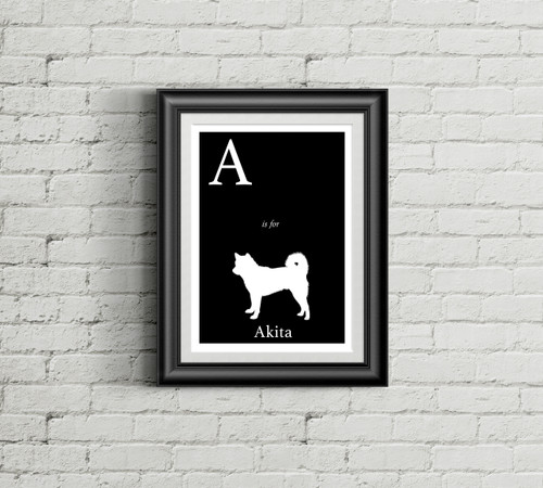 A is for Akita Alphabet Art Print