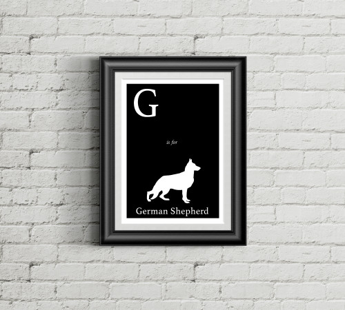 G is for German Shepherd Alphabet Art Print