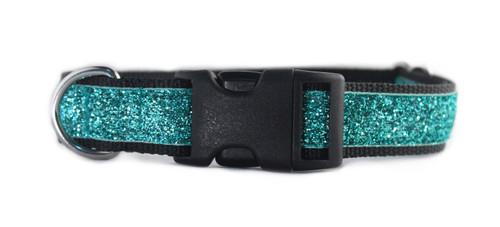 Turquoise Glitter Dog Collar