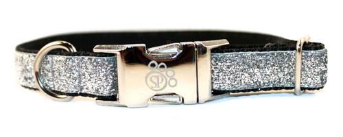 Silver Glitter Dog Collar