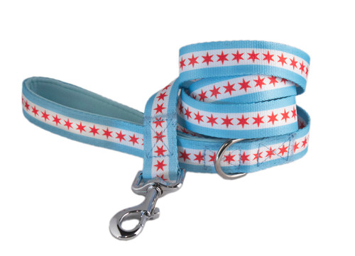 Chicago Flag Dog Leash - Comfort Soft Handle
