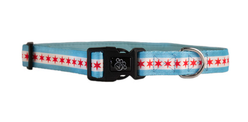 Chicago Flag Dog Collar - Comfort Soft
