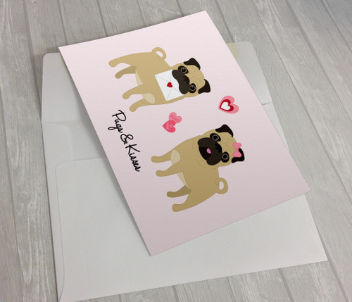 Pugs & Kisses Valentine's Card