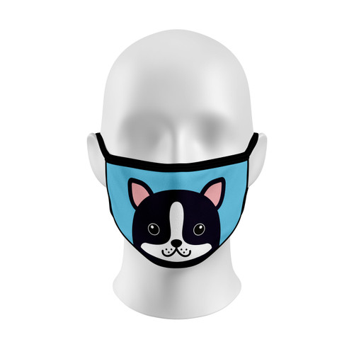 Blue Boston Terrier Face Mask with Elastic Straps
