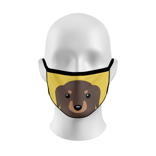 Yellow Dachshund Face Mask with Elastic Straps