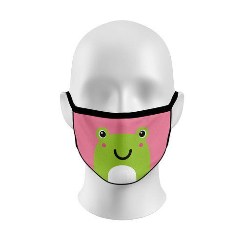 Pink Frog Face Mask with Elastic Straps