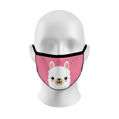 Pink Llama Face Mask with Elastic Straps