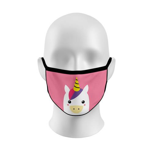 Pink Unicorn Face Mask with Elastic Straps