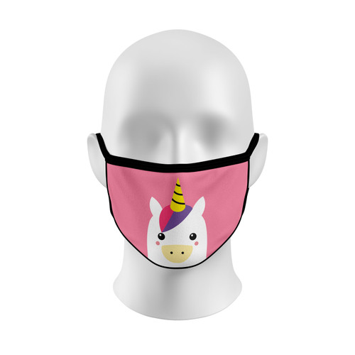 Pink Unicorn Face Mask with Elastic Straps