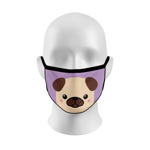 Lavender Pug Face Mask with Elastic Straps