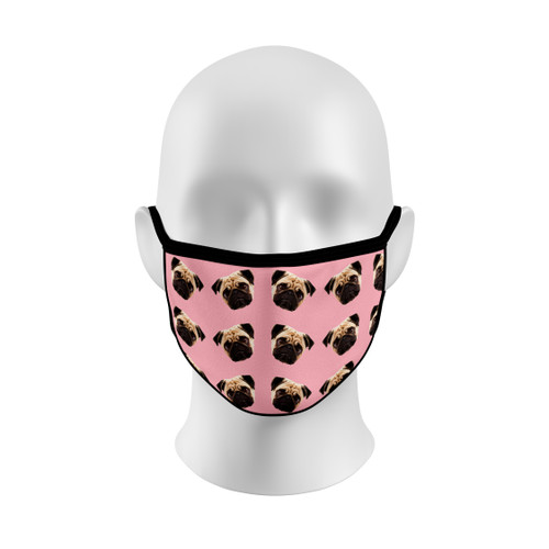 Pink Pug Face Mask with Elastic Straps