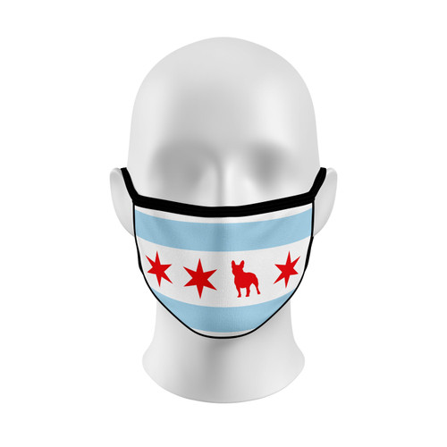 Chicago Flag French Bulldog Face Mask with Elastic Straps