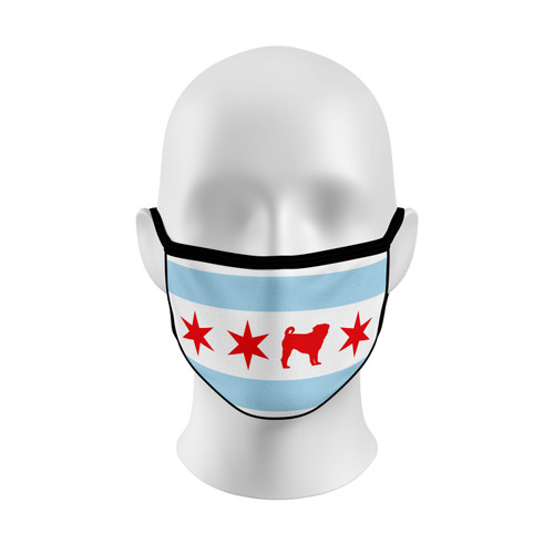 Chicago Flag Pug Face Mask with Elastic Straps