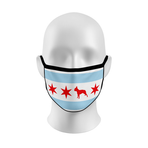 Chicago Flag Boston Terrier Face Mask with Elastic Straps
