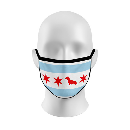 Chicago Flag Dachshund Face Mask with Elastic Straps