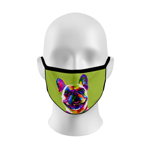 Colorful French Bulldog Face Mask with Elastic Straps