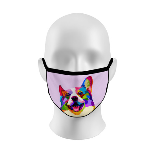 Colorful Corgi Face Mask with Elastic Straps